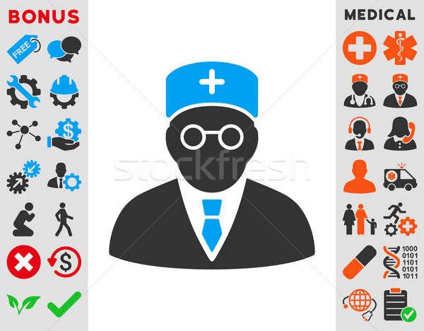Stock fotó: Fő- · orvos · ikon · stílus · szimbólum · kék