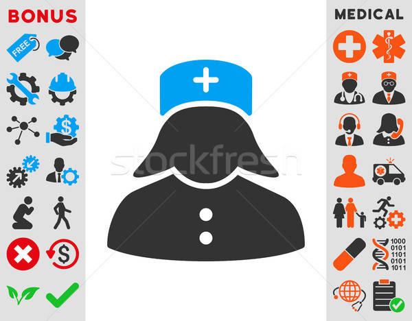 Infirmière icône vecteur style symbole bleu Photo stock © ahasoft