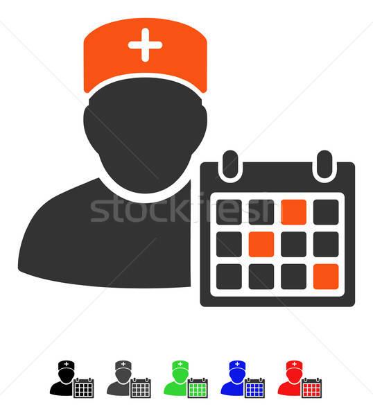 Orvos naptár ikon színes szín fekete Stock fotó © ahasoft
