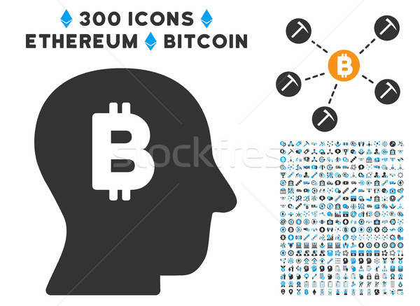 Bitcoin Mind Flat Icon with Clip Art Stock photo © ahasoft