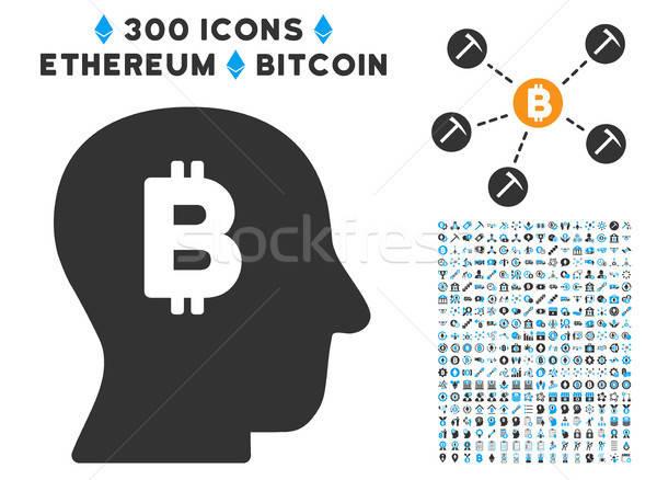 Bitcoin e ícone clip-art inteligente contrato Foto stock © ahasoft