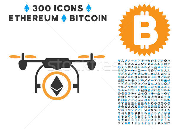 Stock photo: Ethereum Copter Flat Icon with