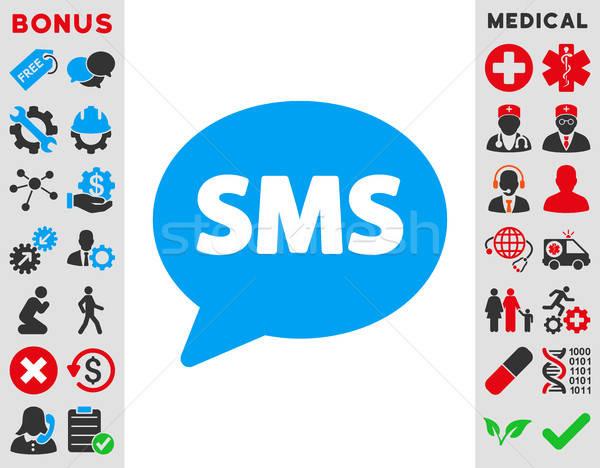 Sms icône vecteur style symbole bleu Photo stock © ahasoft