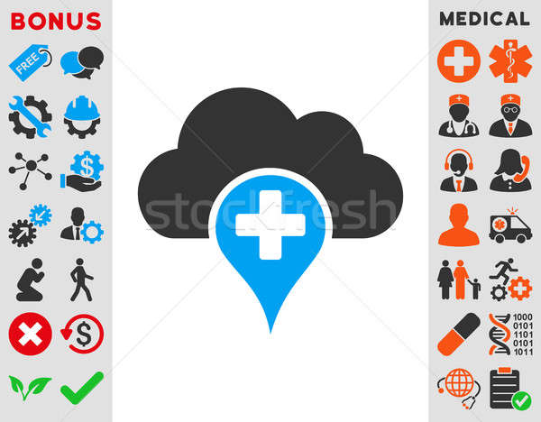 Medische cloud icoon wolk icon stijl symbool Stockfoto © ahasoft