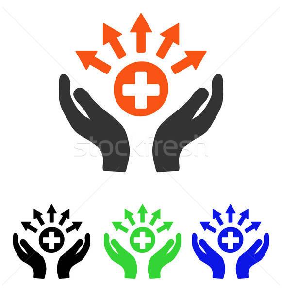 Medycznych dystrybucja opieki ręce wektora ikona Zdjęcia stock © ahasoft
