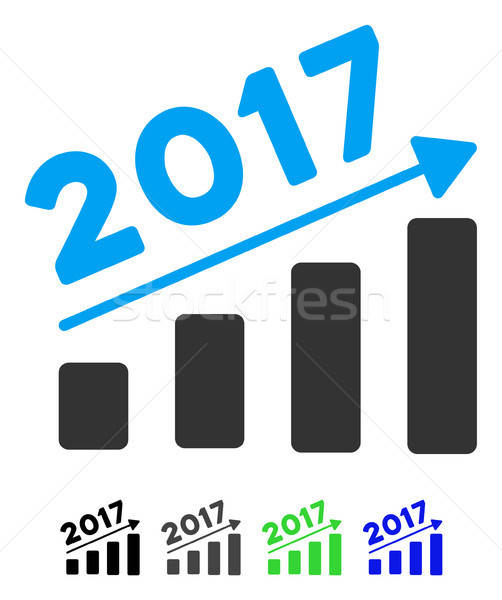 2017 Bar Chart Trend Flat Icon Stock photo © ahasoft