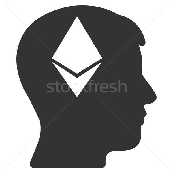 Ethereum Thinking Head Flat Icon Stock photo © ahasoft