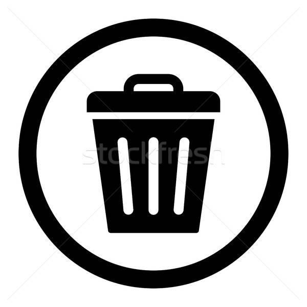 мусорное ведро черный цвета вектора икона символ Сток-фото © ahasoft