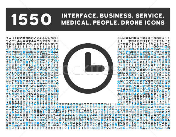 Clock Icon and More Interface, Business, Tools, People, Medical, Awards Flat Glyph Icons Stock photo © ahasoft