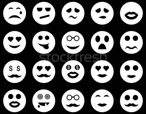 Foto stock: Sorrir · emoção · ícones · vetor · conjunto · estilo