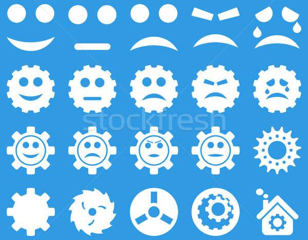 Szerszámok mosoly sebességváltó ikonok szett stílus Stock fotó © ahasoft