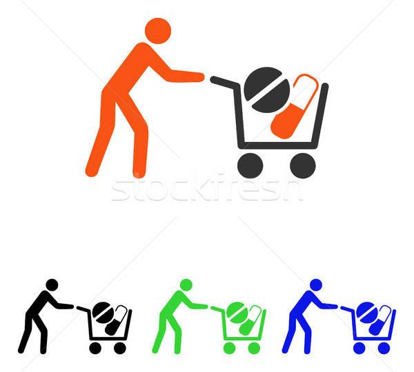 Drogok bevásárlókocsi vektor ikon illusztráció stílus Stock fotó © ahasoft