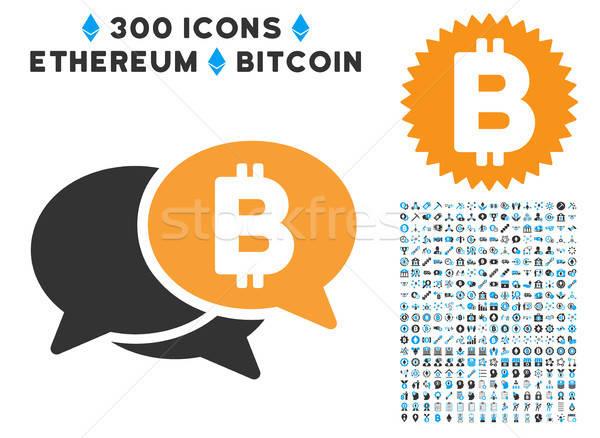 Bitcoin webinar icono inteligentes contrato pictogramas Foto stock © ahasoft