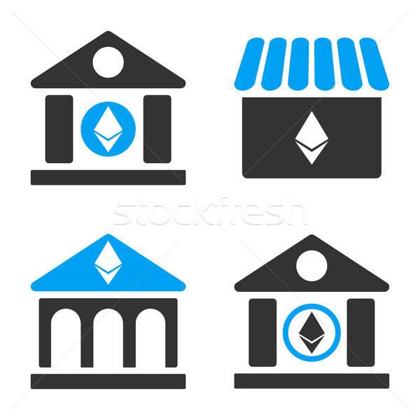 Bank vektor ikon gyűjtemény stílus üzlet pénzügy Stock fotó © ahasoft