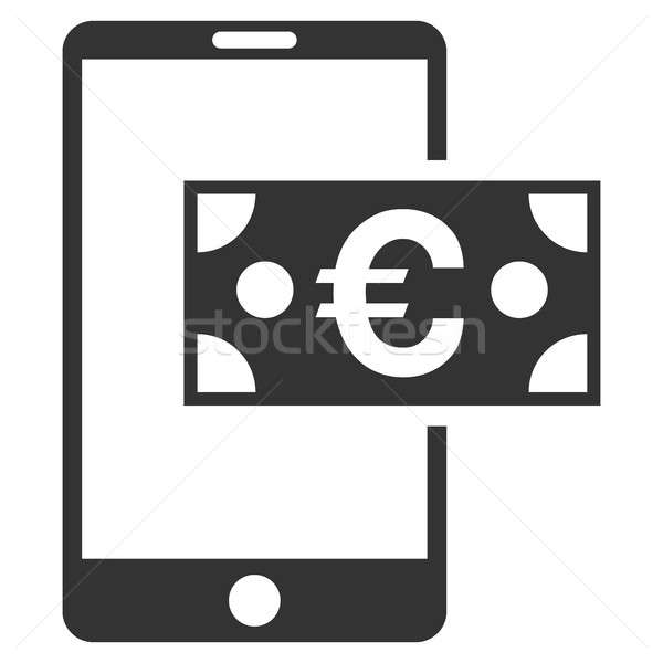 Euro Mobile Cash Flat Raster Icon Stock photo © ahasoft