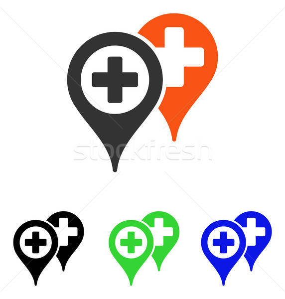 Hospital Map Markers Flat Vector Icon Stock photo © ahasoft