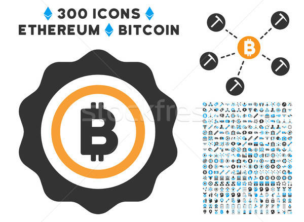 Bitcoin Seal Stamp Flat Icon with Collection Stock photo © ahasoft