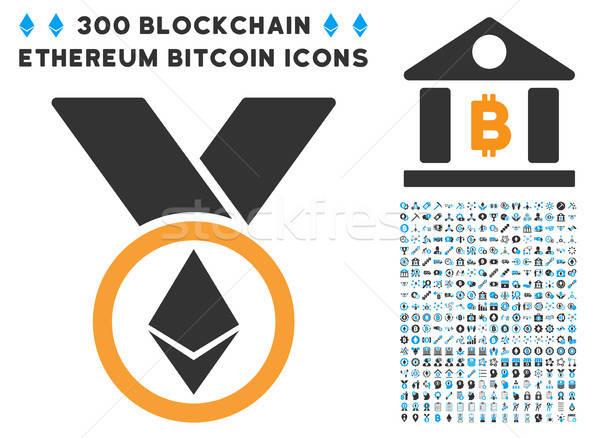 Stock photo: Ethereum Award Medal Flat Icon with Set