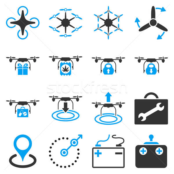 Air copter flat icon set Stock photo © ahasoft