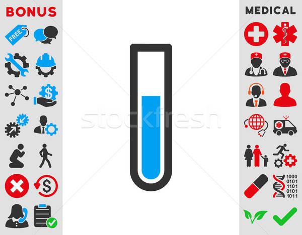 Tubo de ensayo icono vector estilo símbolo azul Foto stock © ahasoft