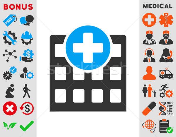 Kórház ikon stílus szimbólum kék szürke Stock fotó © ahasoft