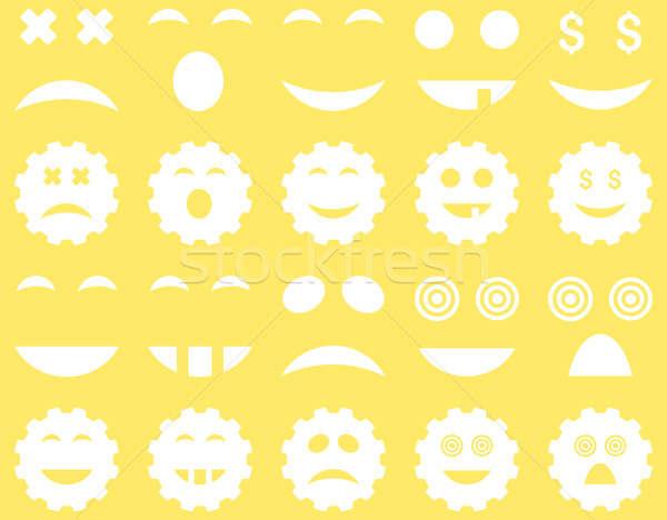 Narzędzie narzędzi uśmiech emocji ikona zestaw Zdjęcia stock © ahasoft