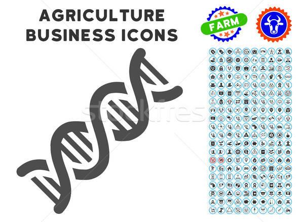 Dna spiraal icon landbouw ingesteld grijs Stockfoto © ahasoft