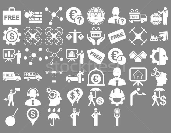 Stockfoto: Business · iconen · witte · kleur · vector