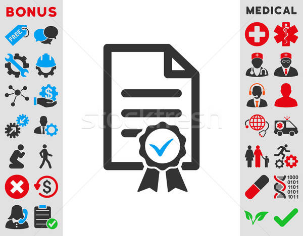 Certifié icône vecteur style symbole bleu Photo stock © ahasoft