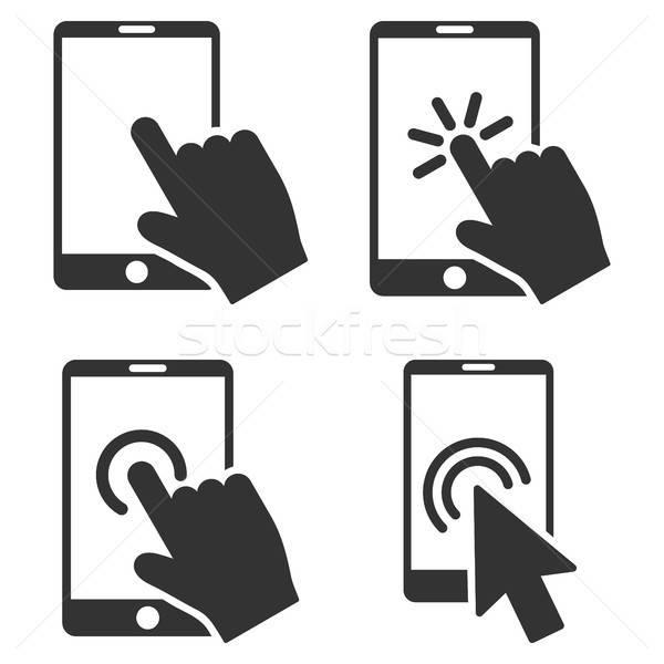 携帯電話 手 ベクトル アイコン ストックフォト © ahasoft