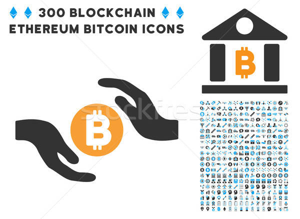 Bitcoin Care Hands Flat Icon with Stock photo © ahasoft