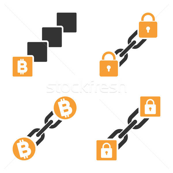 Bitcoin Blockchain Vector Icon Set Stock photo © ahasoft