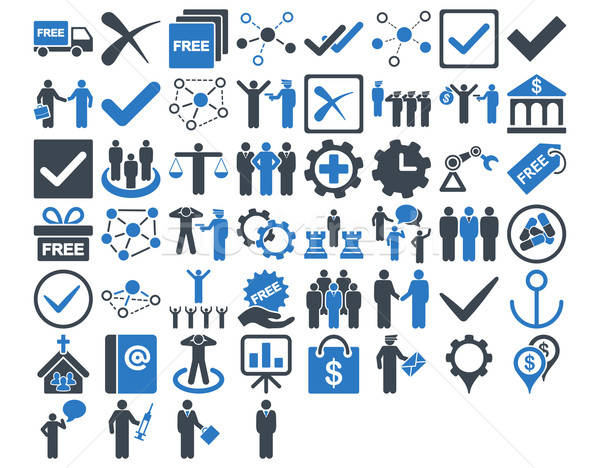 Business iconen Blauw kleuren vector Stockfoto © ahasoft