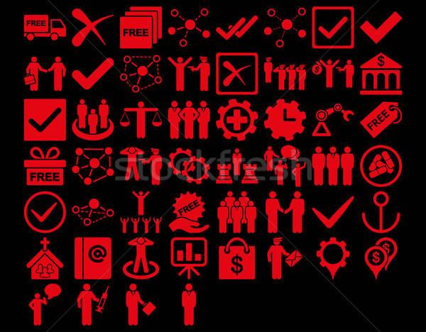 Działalności ikona czerwony kolor wektora Zdjęcia stock © ahasoft