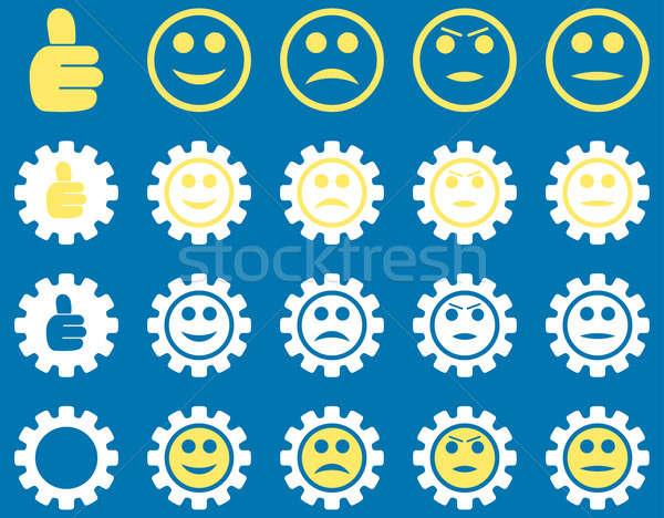 Beállítások mosoly sebességváltó ikonok ikon gyűjtemény stílus Stock fotó © ahasoft