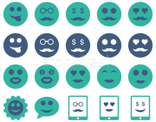 Foto stock: Sonrisa · emoción · iconos · establecer · estilo