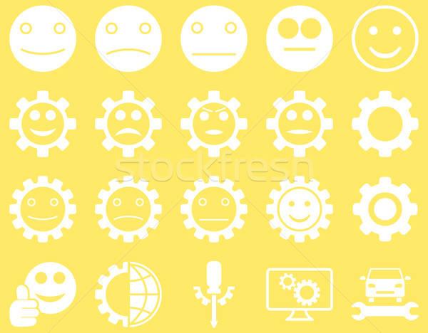 Szerszámok mosoly sebességváltó ikonok vektor szett Stock fotó © ahasoft
