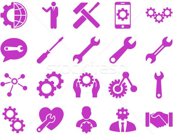 Beállítások szerszámok ikonok vektor szett stílus Stock fotó © ahasoft