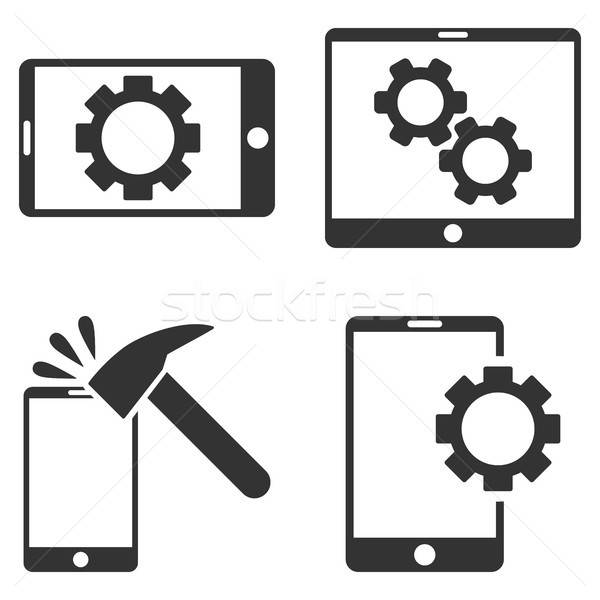 Mobile Options Vector Flat Icon Set Stock photo © ahasoft