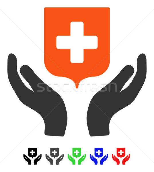 Médicos escudo atención manos icono Foto stock © ahasoft