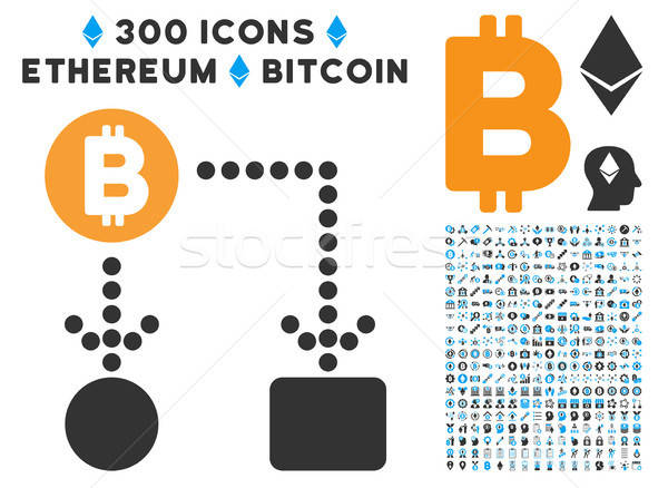 Bitcoin icon collectie smart contract ontwerp Stockfoto © ahasoft