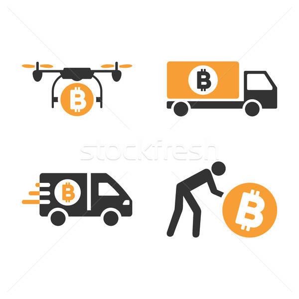 Bitcoin közlekedés vektor ikon gyűjtemény stílus szolgáltatás Stock fotó © ahasoft