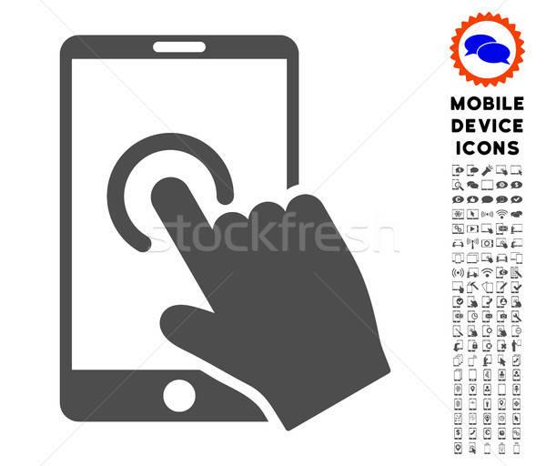 Mano toque icono móviles Foto stock © ahasoft
