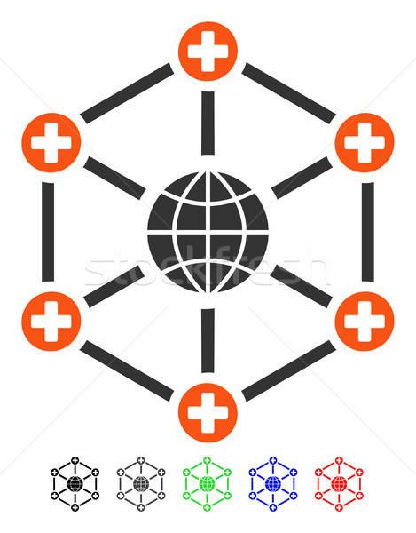 Global médicos red icono vector pictograma Foto stock © ahasoft