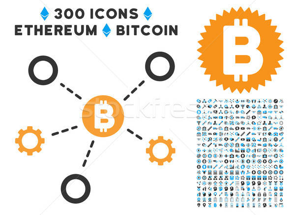 Bitcoin Network Nodes Flat Icon with Clip Art Stock photo © ahasoft