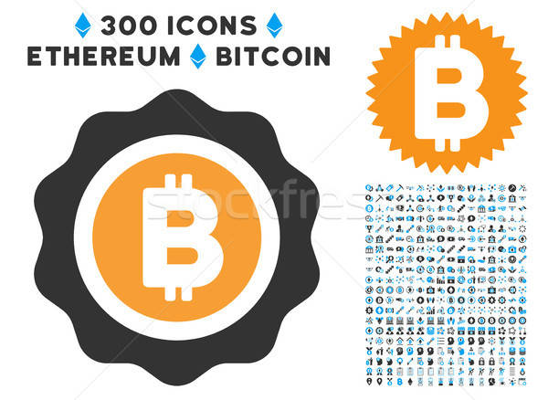 Bitcoin Seal Flat Icon with Stock photo © ahasoft