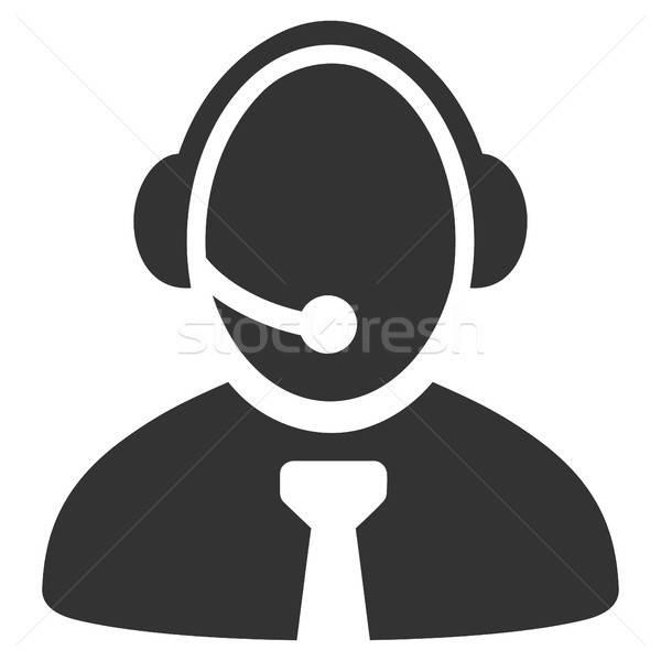 Foto stock: Call · center · gerente · ícone · vetor · pictograma · estilo