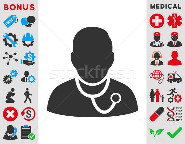 Medikus ikon vektor stílus szimbólum kék Stock fotó © ahasoft