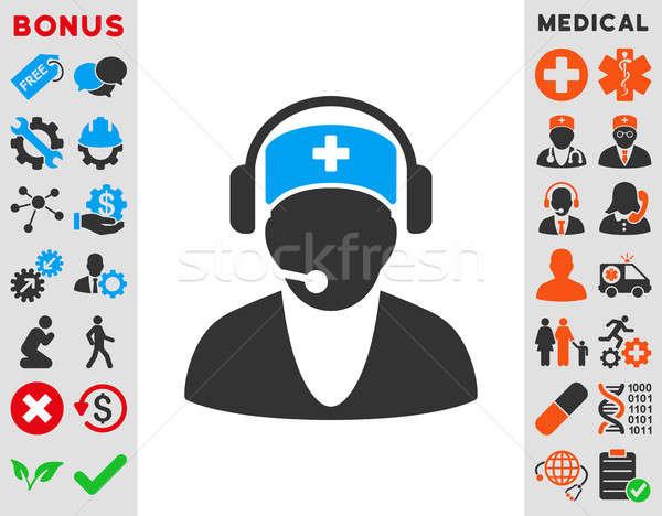 Ziekenhuis receptionist icon stijl symbool Blauw Stockfoto © ahasoft