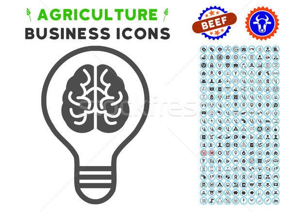 ötlet villanykörte ikon mezőgazdaság szett szürke Stock fotó © ahasoft